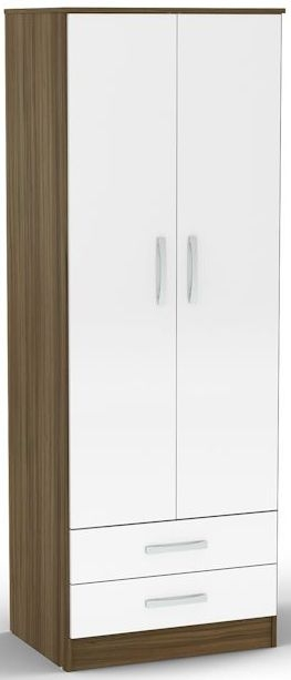 Birlea Lynx Walnut and White Gloss Wardrobe - 2 Door Combi
