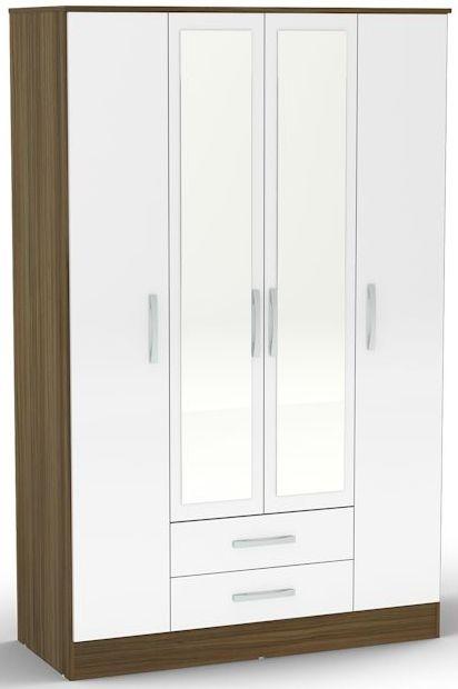 Birlea Lynx Walnut and White Gloss Wardrobe - 4 Door 2 Drawer with Mirror