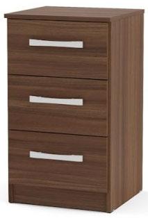 Birlea Lynx Walnut Bedside Cabinet - 3 Drawer