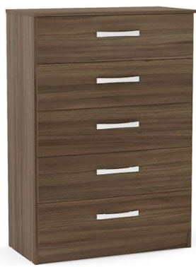 Birlea Lynx Walnut Chest of Drawer - 5 Drawer