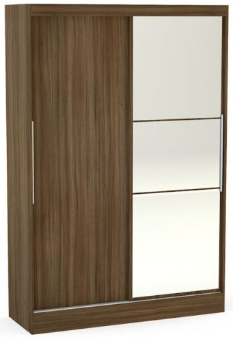 Birlea Lynx Walnut Sliding Wardrobe - 2 Door with Mirror