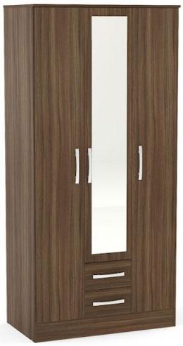 Birlea Lynx Walnut Wardrobe - 3 Door 2 Drawer with Mirror