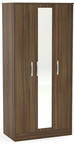 Birlea Lynx Walnut Wardrobe - 3 Door Mirror