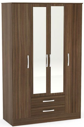 Birlea Lynx Walnut Wardrobe - 4 Door 2 Drawer with Mirror