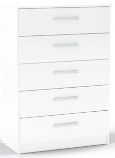 Birlea Lynx White Gloss Chest of Drawer - 5 Drawer