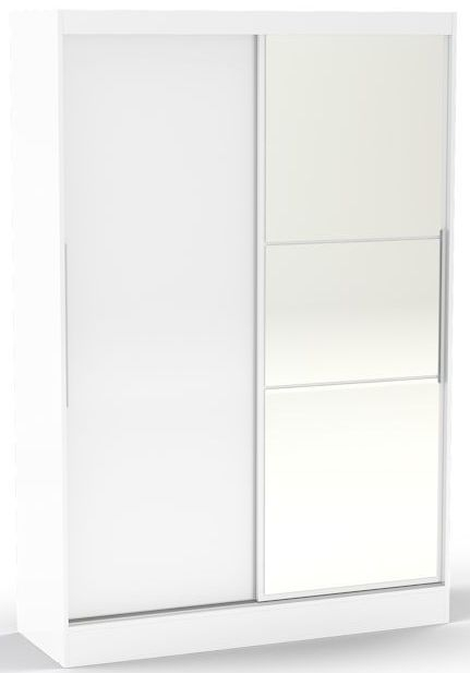 Birlea Lynx White Gloss Sliding Wardrobe - 2 Door with Mirror