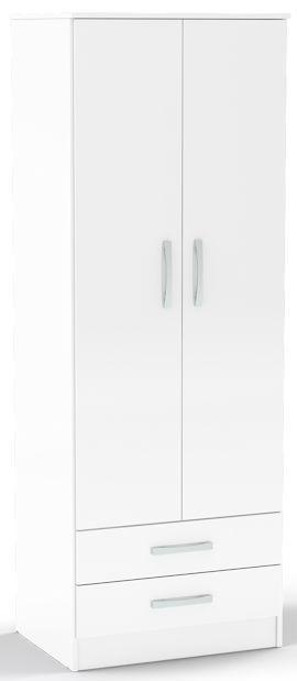 Birlea Lynx White Gloss Wardrobe - 2 Door Combi