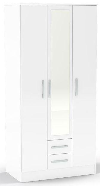 Birlea Lynx White Gloss Wardrobe - 3 Door 2 Drawer with Mirror