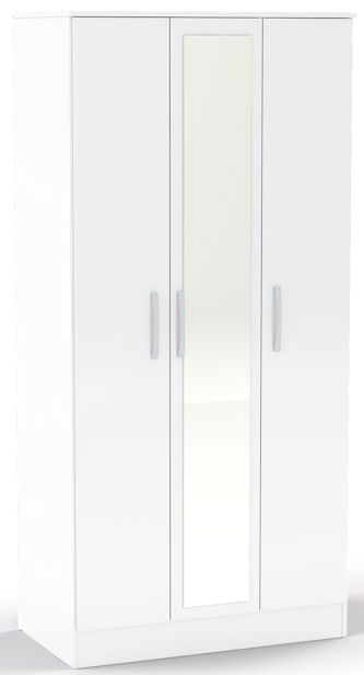 Birlea Lynx White Gloss Wardrobe - 3 Door Mirror