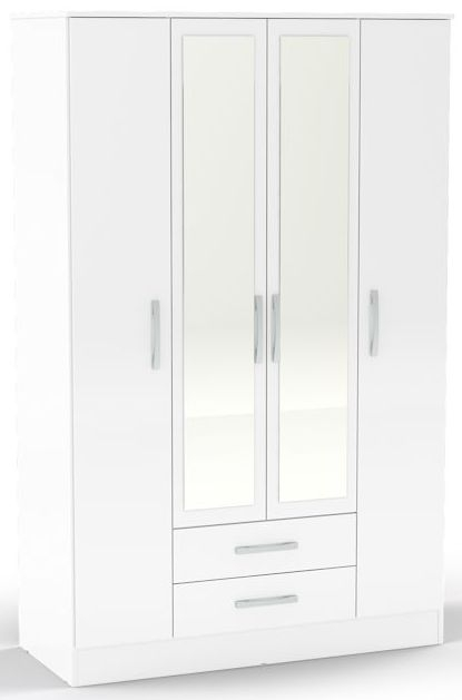 Birlea Lynx White Gloss Wardrobe - 4 Door 2 Drawer with Mirror