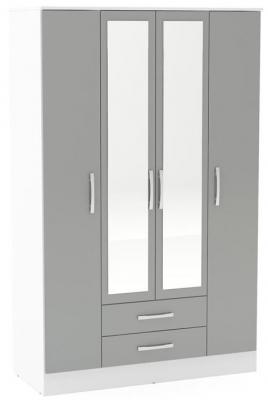 Birlea Lynx 4 Door Combi Wardrobe - White and Grey