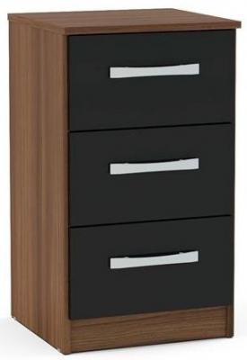 Birlea Lynx Bedside Cabinet - Walnut and Black