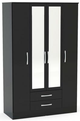 Birlea Lynx Black 4 Door Combi Wardrobe