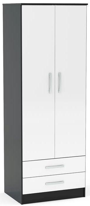 Birlea Lynx 2 Door 2 Drawer Wardrobe - Black and White