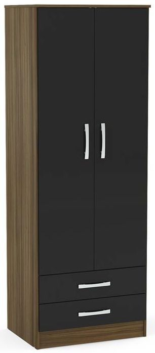 Birlea Lynx 2 Door 2 Drawer Wardrobe - Walnut and Black