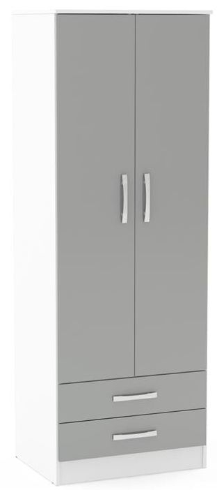 Birlea Lynx 2 Door 2 Drawer Wardrobe - White and Grey