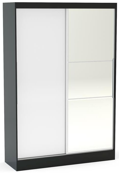 Birlea Lynx 2 Door Sliding Mirror Wardrobe - Black and White