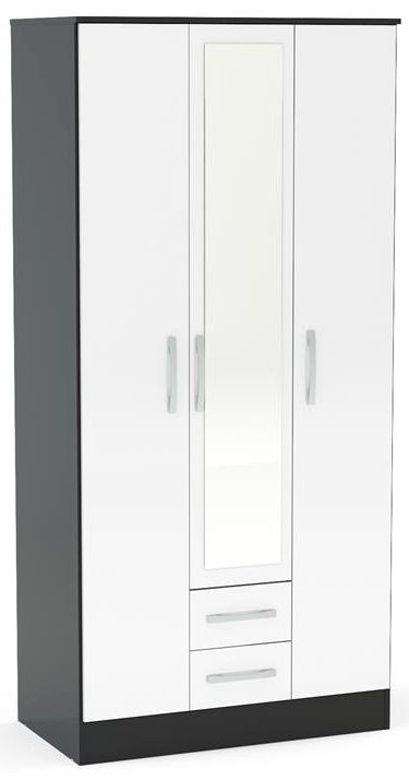 Birlea Lynx 3 Door Combi Wardrobe - Black and White