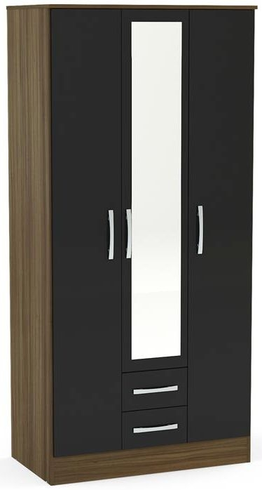 Birlea Lynx 3 Door Combi Wardrobe - Walnut and Black