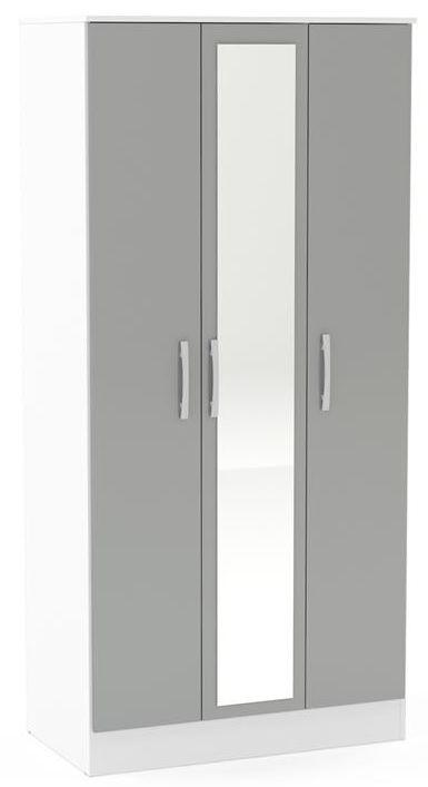 Birlea Lynx 3 Door Combi Wardrobe - White and Grey