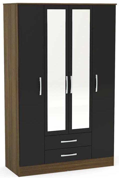 Birlea Lynx 4 Door Combi Wardrobe - Walnut and Black