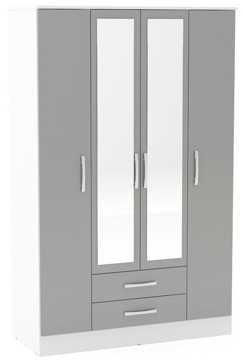 Birlea Lynx 4 Door Combi Wardrobe - White and Grey
