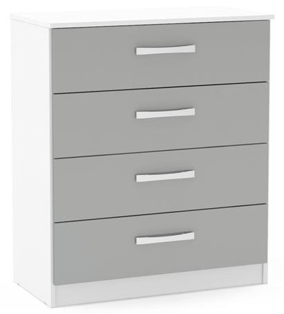 Birlea Lynx 4 Drawer Small Chest - White and Grey