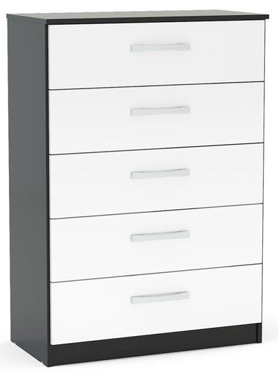 Birlea Lynx 5 Drawer Medium Chest - Black and White