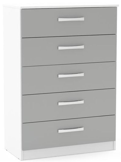 Birlea Lynx 5 Drawer Medium Chest - White and Grey