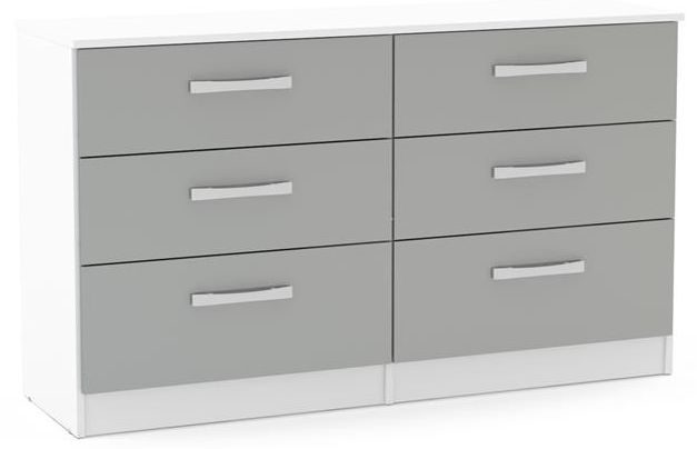 Birlea Lynx 6 Drawer Large Chest - White and Grey
