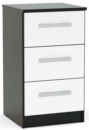 Product photograph showing Birlea Lynx Bedside Cabinet - Black And White