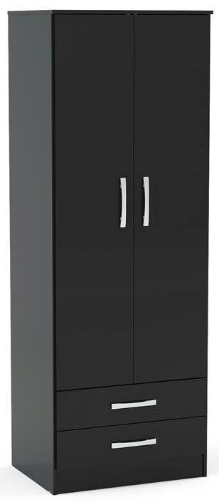 Birlea Lynx Black 2 Door 2 Drawer Wardrobe