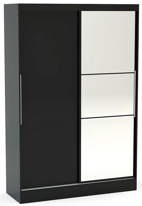 Birlea Lynx Black 2 Door Sliding Mirror Wardrobe