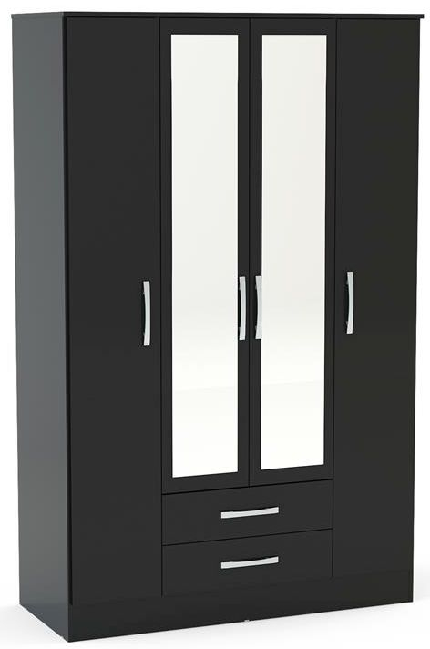 Birlea Lynx Black 4 Door Combi Wardrobe