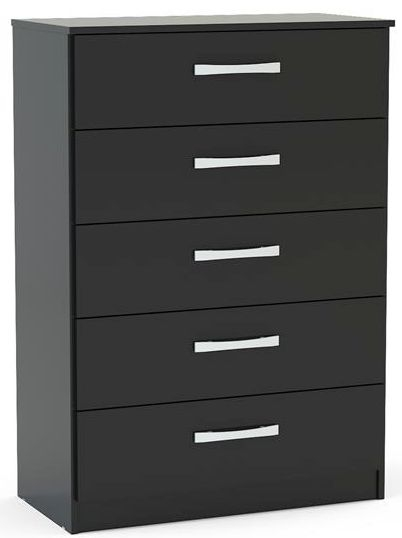 Birlea Lynx Black 5 Drawer Medium Chest