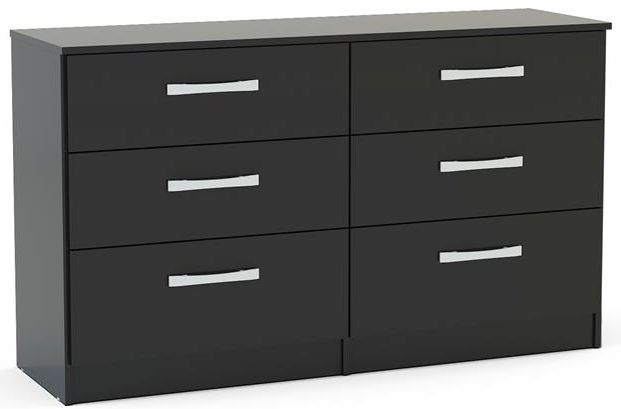 Birlea Lynx Black 6 Drawer Large Chest