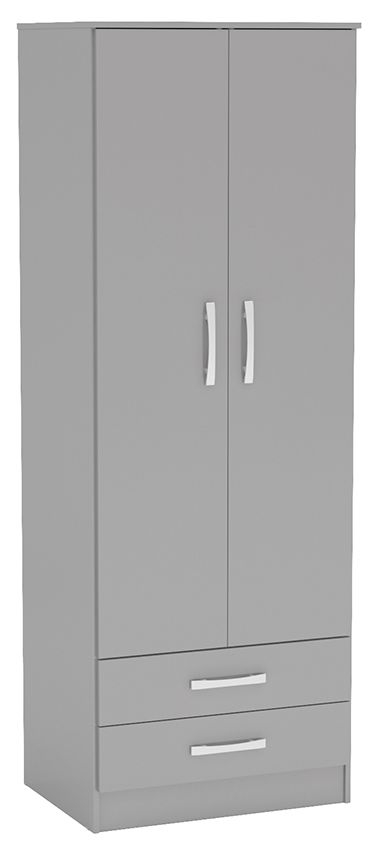 Birlea Lynx Grey 2 Door 2 Drawer Wardrobe