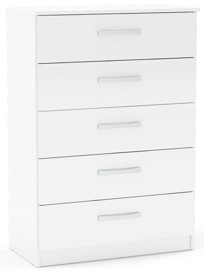 Birlea Lynx White 5 Drawer Medium Chest