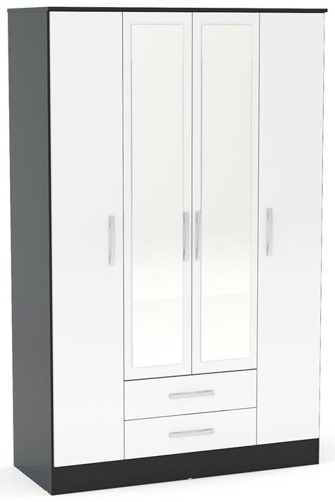 Birlea Lynx 4 Door Combi Wardrobe - Black and White