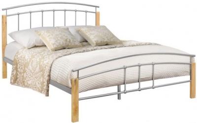 Birlea Tetras Beech and Silver Metal Bed