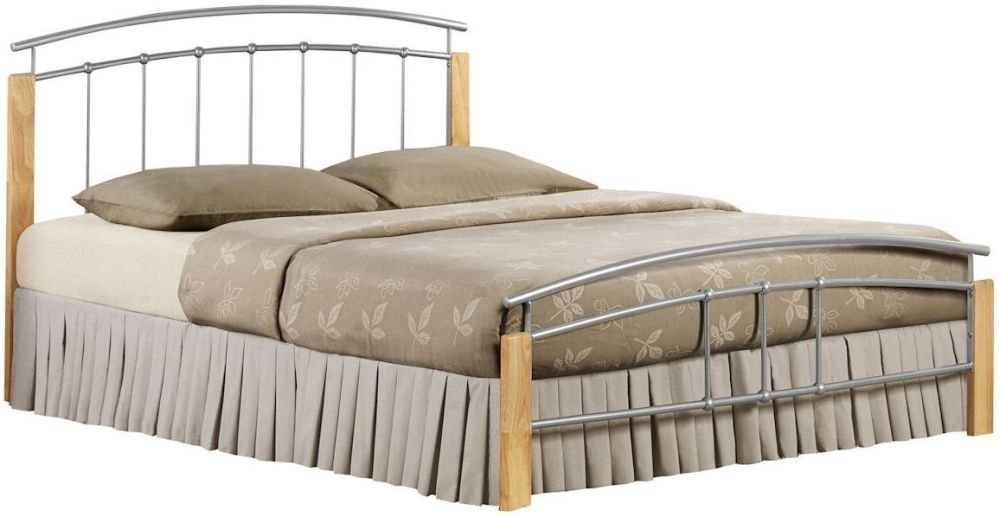 Birlea Tetras Silver and Beech Metal Bed