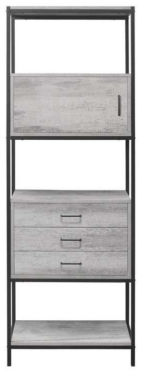 Birlea Midtown Grey Shelving Unit with Metal Frame