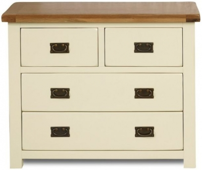 Birlea New Hampshire Cream and Oak Chest of Drawer - 2+2 Drawer