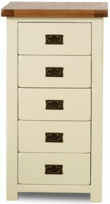 Birlea New Hampshire Cream and Oak Chest of Drawer - 5 Drawer