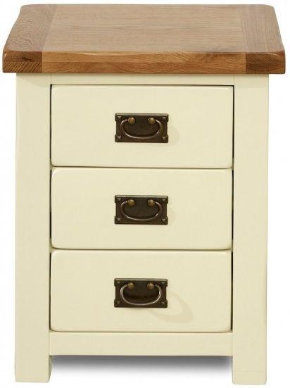 Birlea New Hampshire Cream and Oak Bedside Cabinet - 3 Drawer