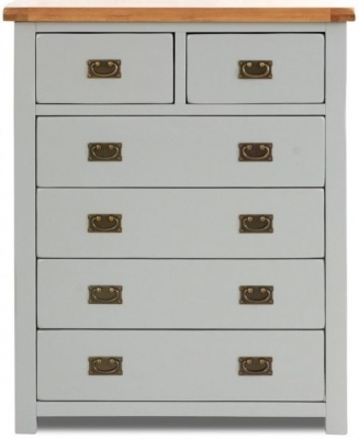 Birlea New Hampshire Grey and Oak Chest of Drawer - 4+2 Drawer