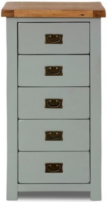 Birlea New Hampshire Grey and Oak Chest of Drawer - 5 Drawer
