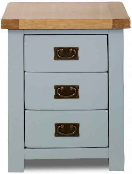 Birlea New Hampshire Grey and Oak Bedside Cabinet - 3 Drawer
