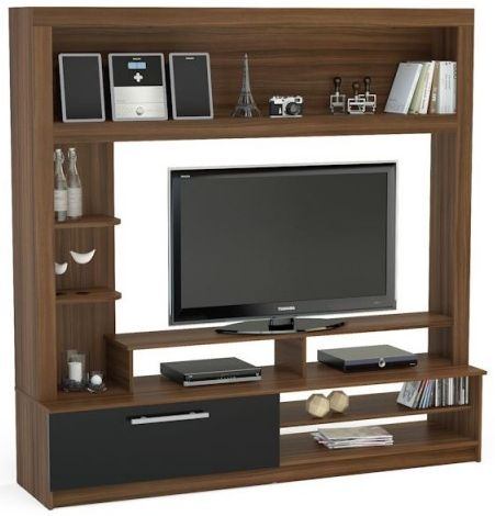 Birlea Nova Walnut and Black Entertainment Unit