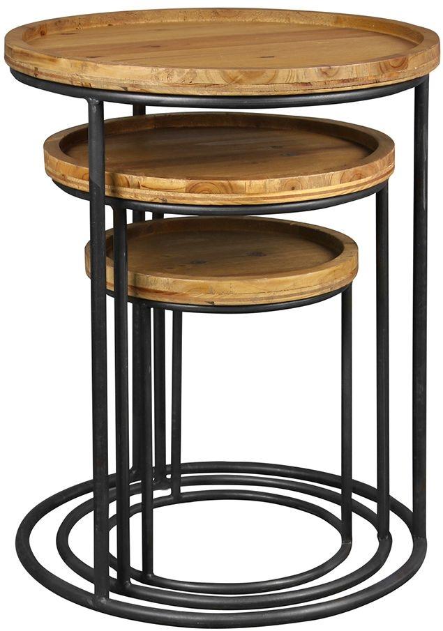 Birlea Bergen Nest of Tables - Natural Fir Wood and Black